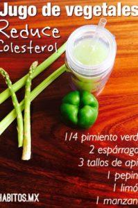 jugo de vegetales para reducir el colesterol