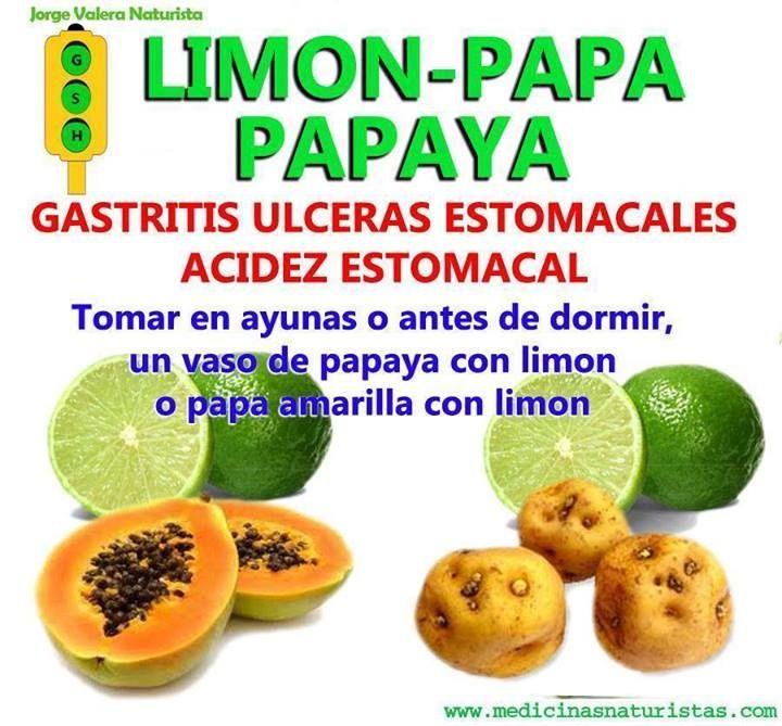 Limón y papaya para aliviar la gastritis