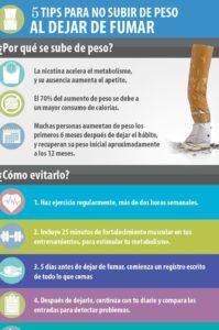 tips para nu subir de peso al dejar de fumar
