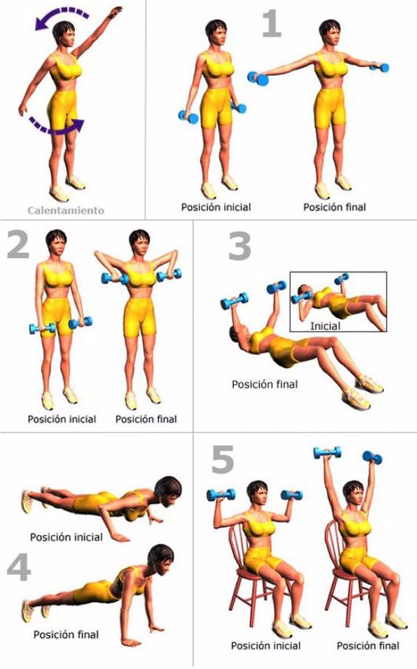 5 ejercicios para adelgazar brazos en mujeres