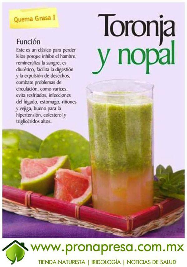 El jugo de nopal y toronja y sus beneficios para la salud for Hierbas para bajar de peso y quemar grasa