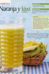 jugo diurético de naranja y kiwi para adelgazar