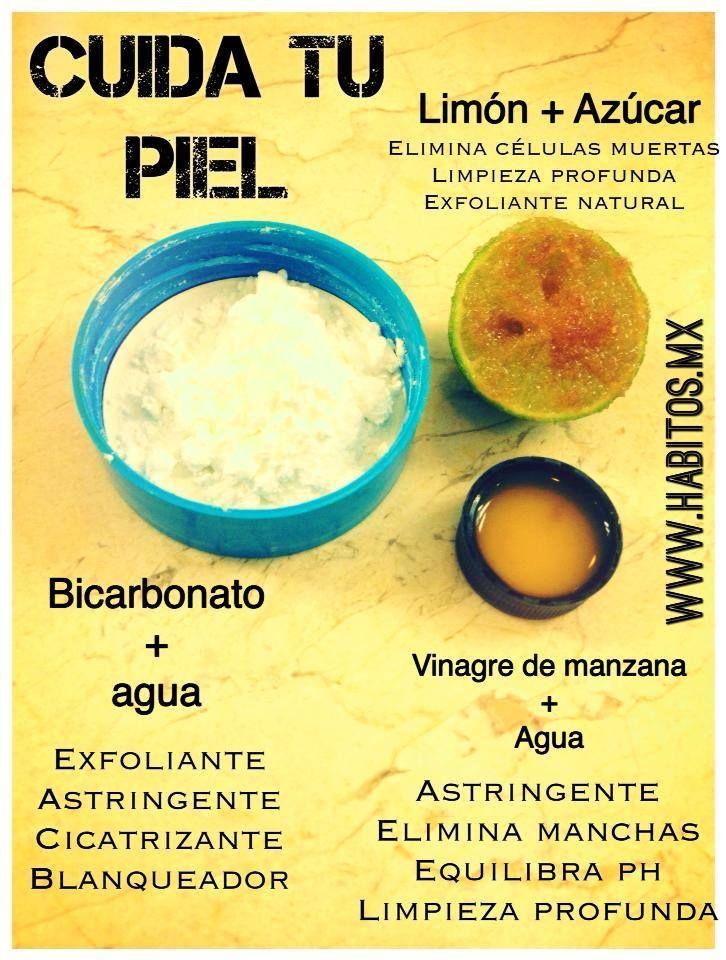Cuida tu piel con bicarbonato, limón y vinagre de manzana