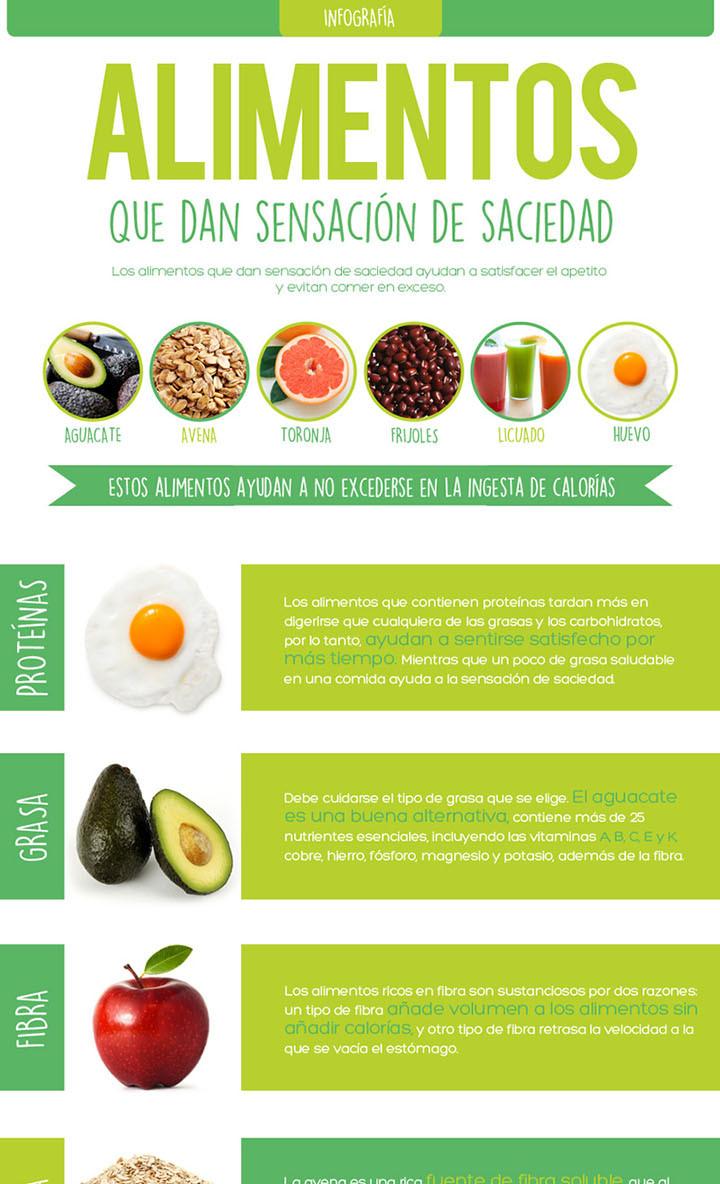 8 alimentos saciantes para perder peso | Infografías y