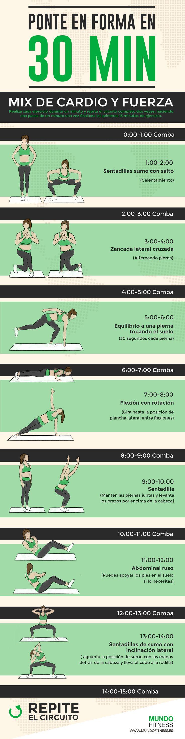 Ponte en forma en 30 minutos rutina de cardio y fuerza for Gimnasio 30 minutos