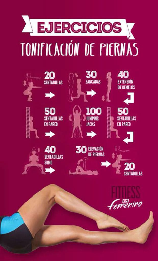 9 ejercicios para tonificar las piernas | Infografías y