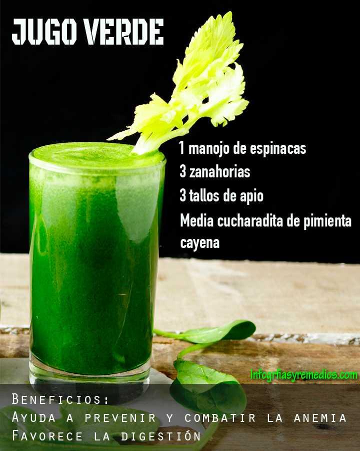jugo verde para la anemia