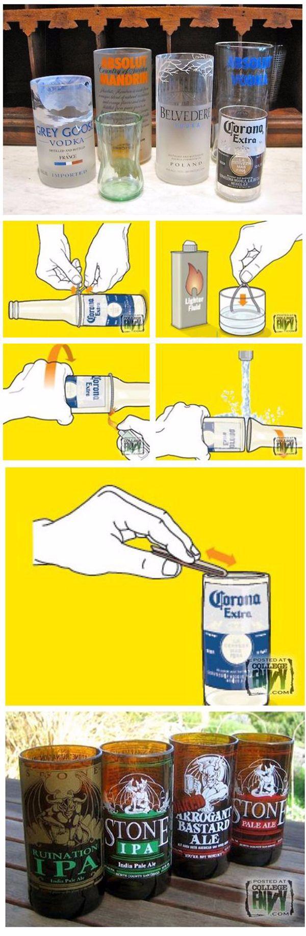 cómo cortar botellas de vidrio para hacer vasos