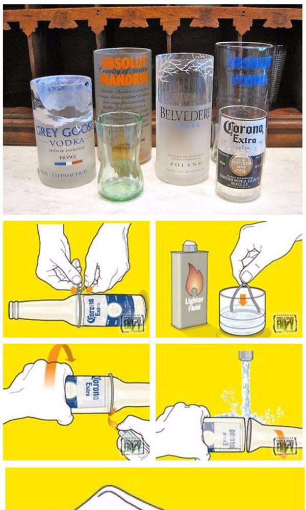 C mo cortar botellas de vidrio para hacer vasos - Que hacer con botellas de vidrio ...