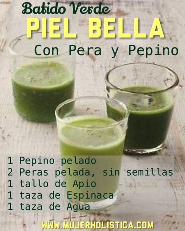 licuado verde de pera y pepino