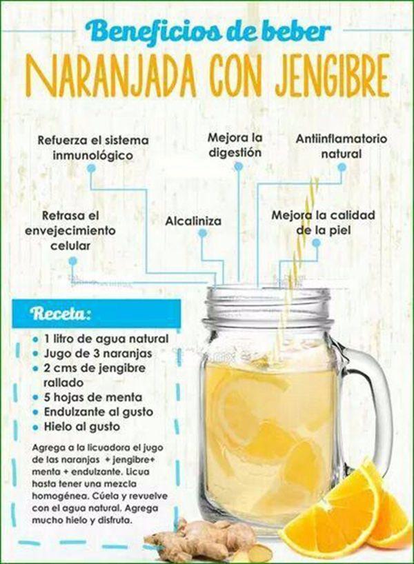 jugo de naranja con jengibre