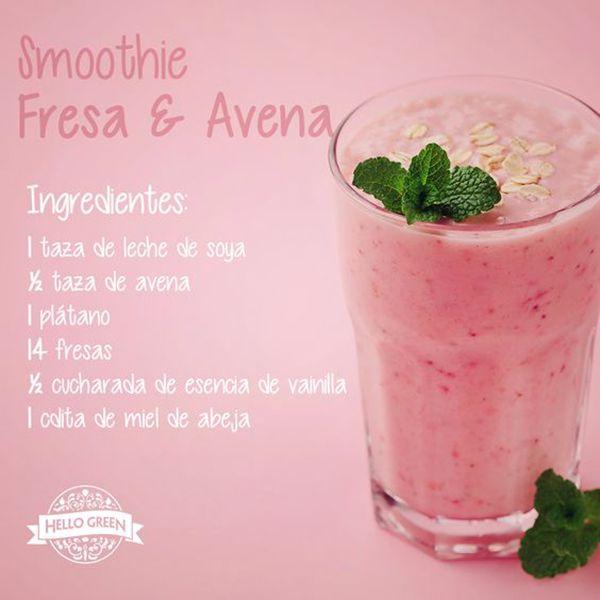 smoothie de fresa y avena