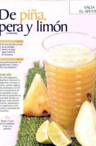 jugo de piña pera y limón