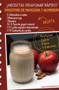 cómo hacer un smoothie de manzana y almendra